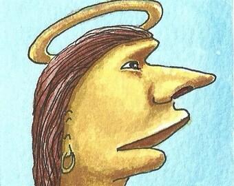 ACEO. Artist trading card. Original watercolour. 'St Proboscis. Patron saint of noses.'