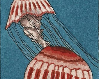 ACEO. Artist trading card. Jellyfish. Watercolour.