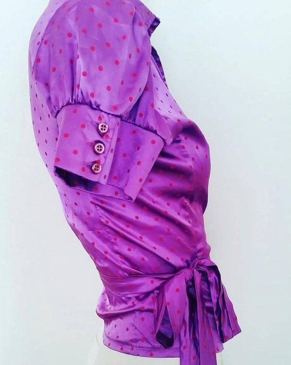 1960s Polka dot wrap blouse