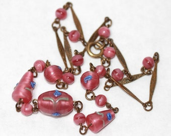 Vintage PINK Lampwork GLASS Beads on Brass Paneled Chain 30's