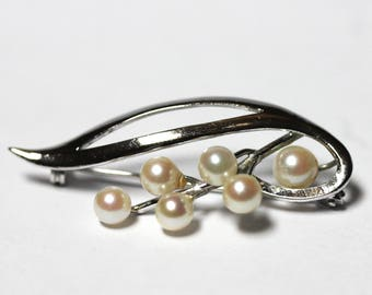 Stunning Vintage Real Cultured 6 PEARL Silver Brooch