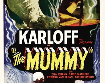 Vintage Hebrew Boris Karloff The Mummy Movie  Poster A3 Print