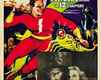 1941 Tom Tyler cult serial movie poster 24x36 Adventures of Captain Marvel