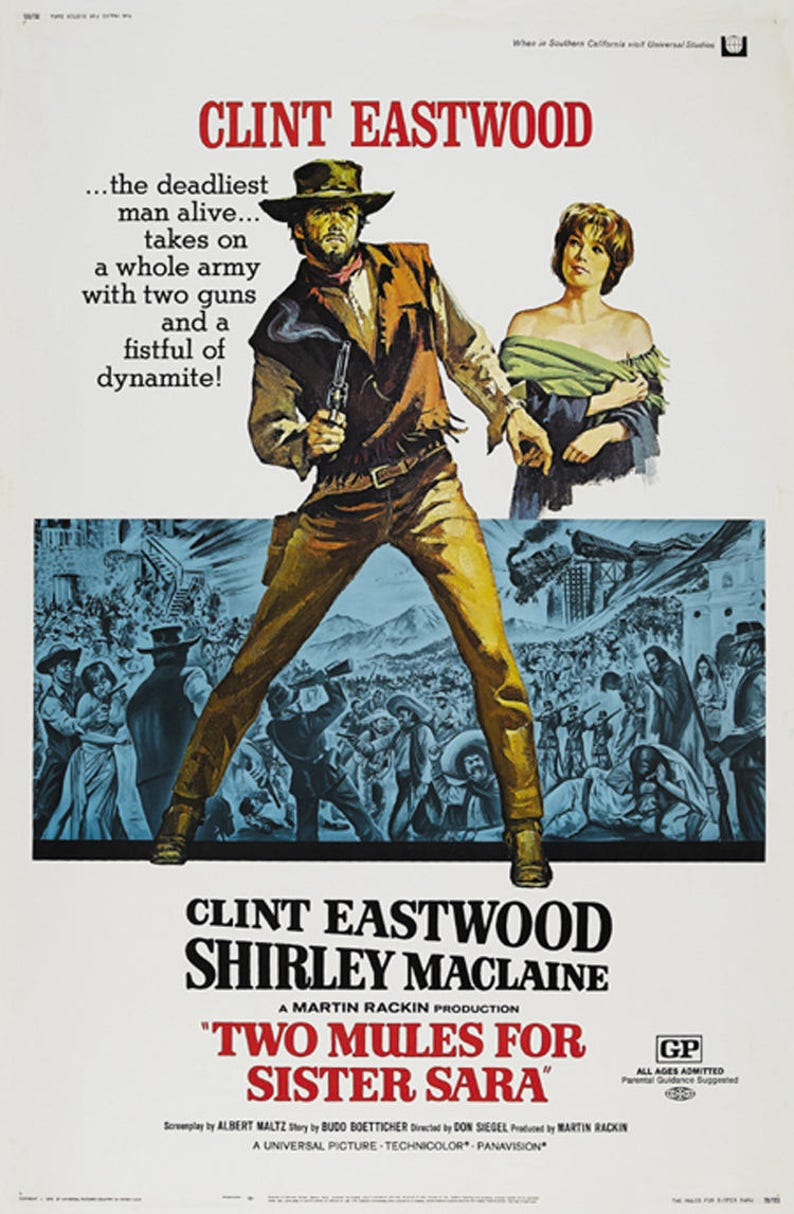 Two Mules for Sister Sara Clint Eastwood cult movie poster 24x33 inches 2 1970