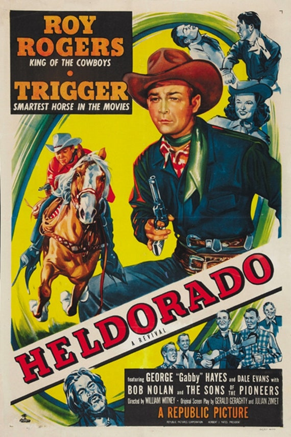 Roy Rogers Roll on Texas moon 1946 cult western movie poster print