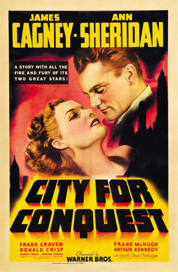 City for Conquest Ann Sheridan James Cagney movie poster 24x36 inches 1940
