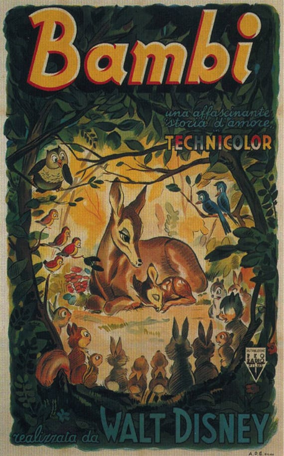 Bambi 1942 Disney cartoon movie poster print 3