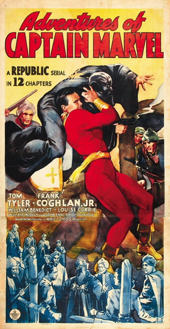 1941 Tom Tyler cult serial movie poster 24x25 Adventures of Captain Marvel