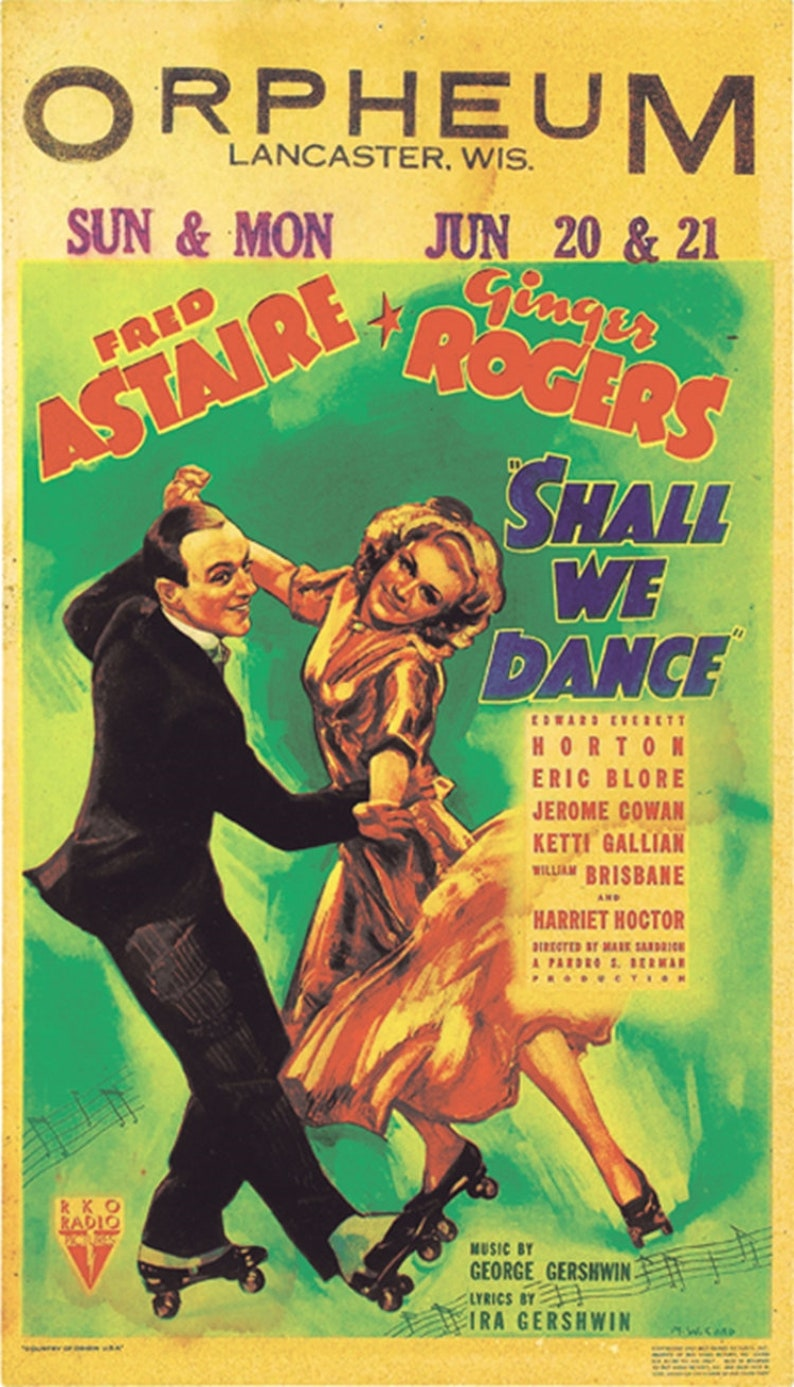 Shall we dance 1937 Fred Astaire Ginger Rogers movie poster reprint 19x12 5  inches #2