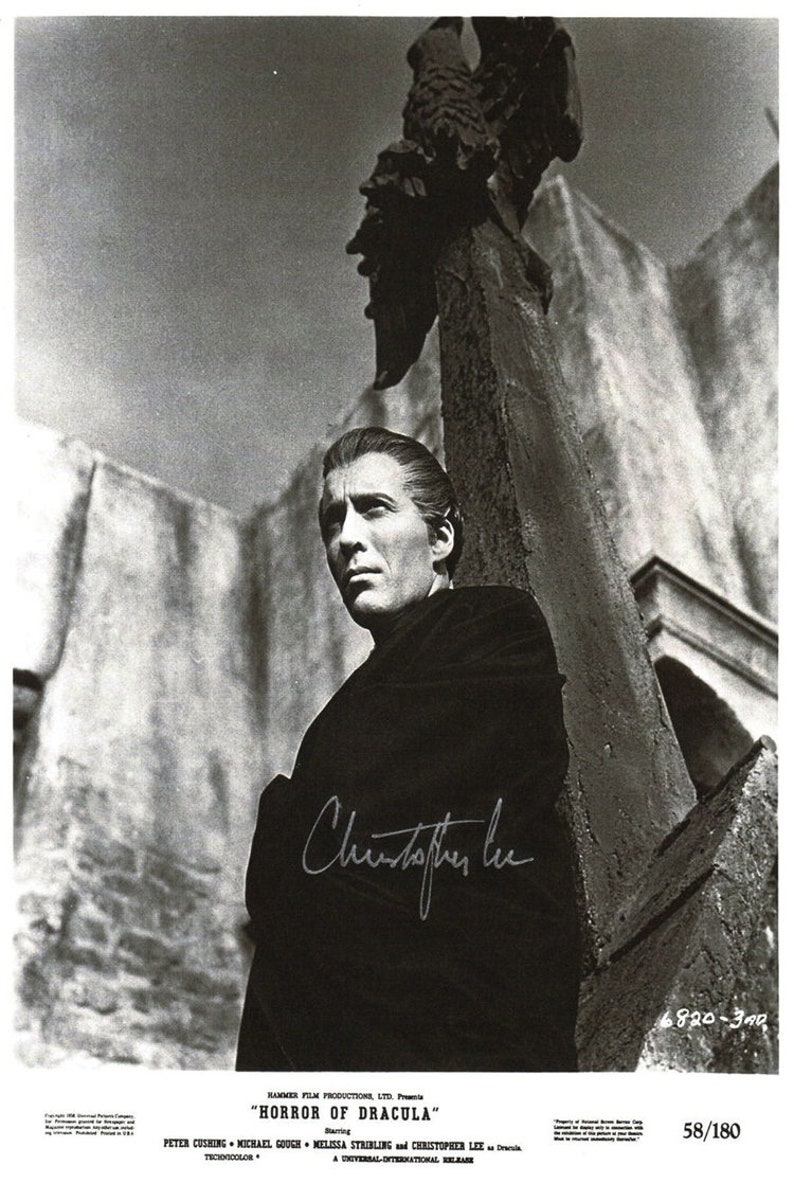 Christopher Lee Horror Of Dracula 1958 (Autographed) movie poster reprint  19x12 5 inches