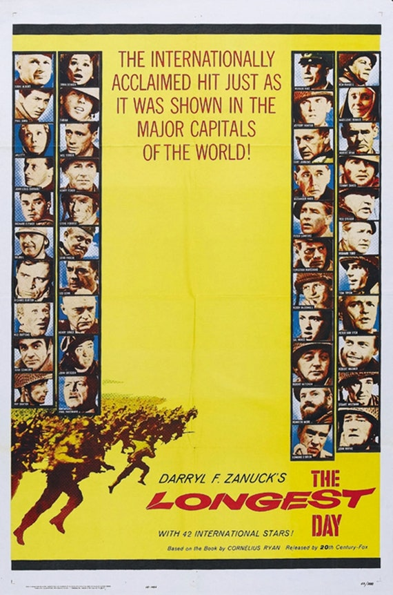 John Wayne movie poster print 1962 The Longest Day