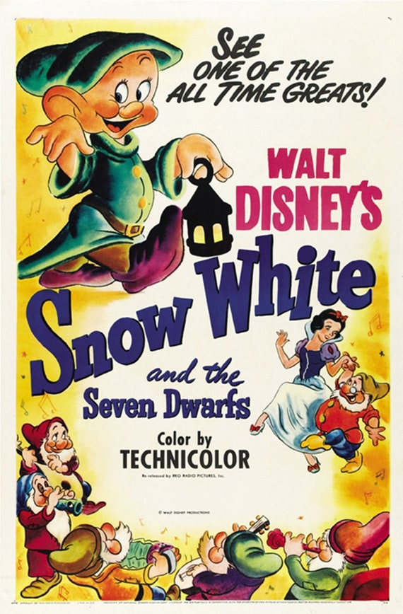 Snow White And The Seven Dwarfs 1937 Disney Cult Cartoon Etsy