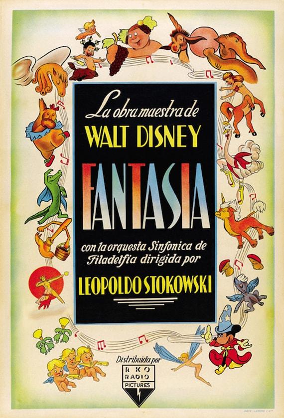 Fantasia 1940 Vintage Disney Movie Cartoon Poster Reprint Etsy