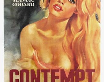 Le Mepris - Contempt (1963) Brigitte Bardot Jean-Luc Godard Movie poster reprint 19x12.5 inches