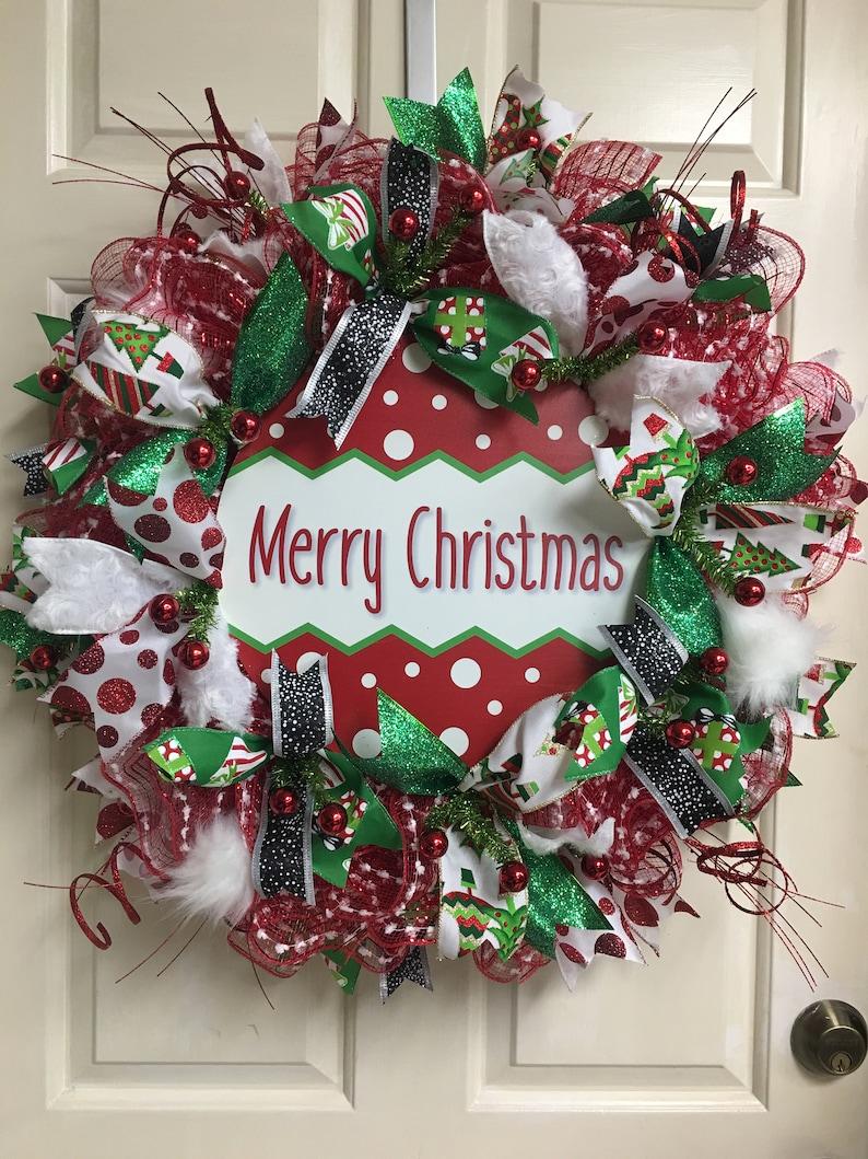 Whimsical Merry Christmas Wreath Christmas Decor Christmas Wreath Merry Christmas Ornament Wreath Holiday Wreath Holiday Decor