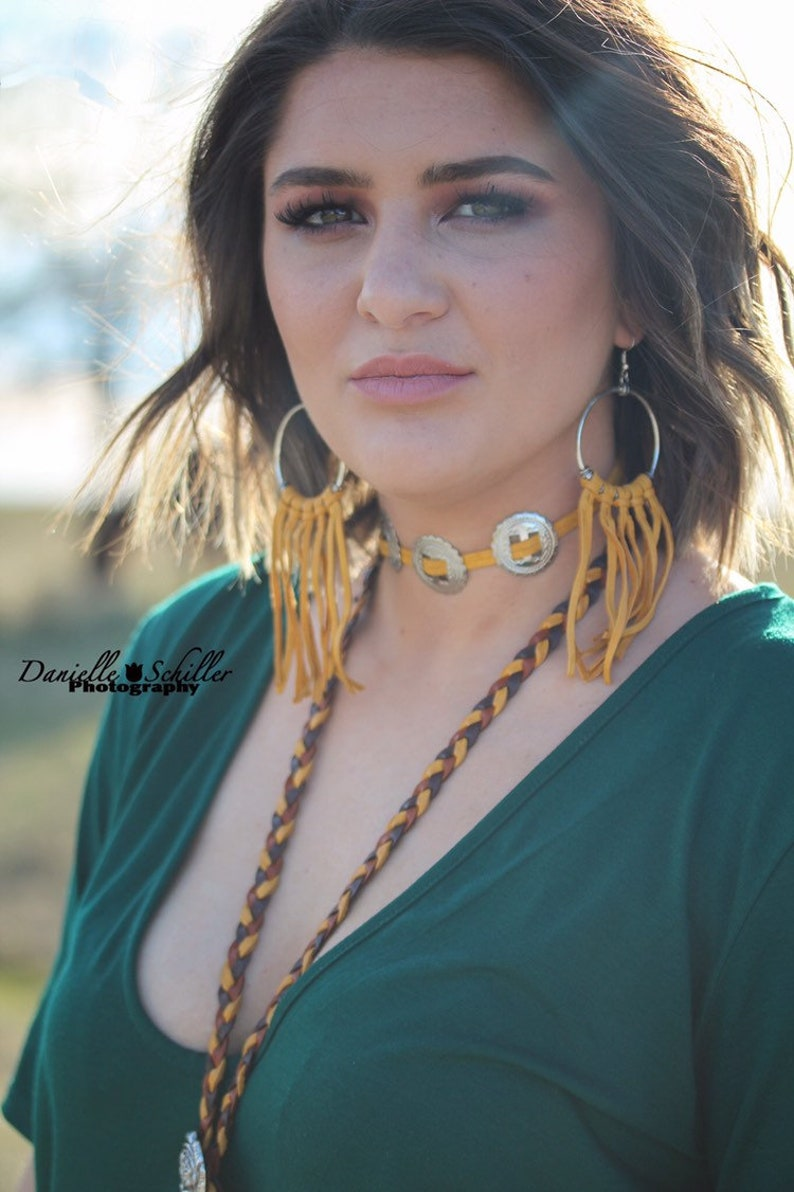 Bolo Choker Choker Necklace Leather necklace Western Necklace Concho Choker Concho Necklace Leather choker - Western Choker