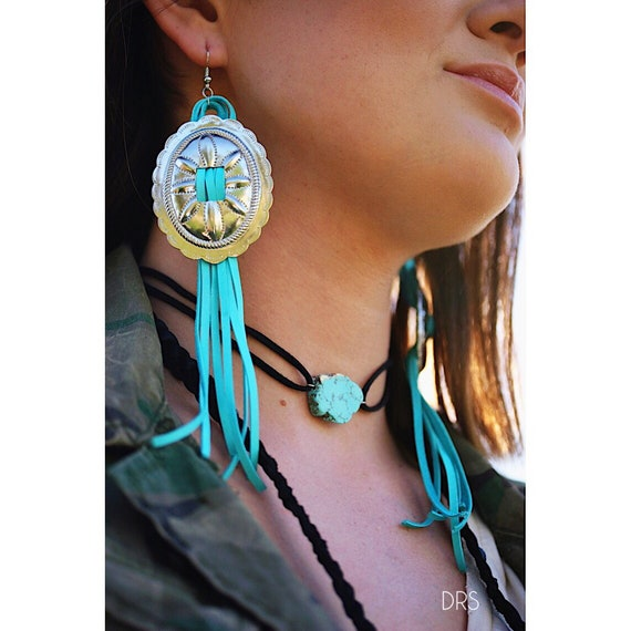 Fringe Earrings Western Jewelry Concho Earring Leather Boho Southwest Long Fringes Gypsy Rodeo Bijoux FAB