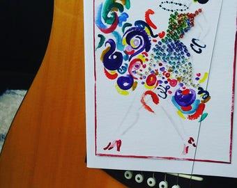 Dancer greeting card - Card for dancer - Handpainted - Salsa - Tango - Flamenco - Ballroom dance - Social dance - Acrylic paint - Beaded