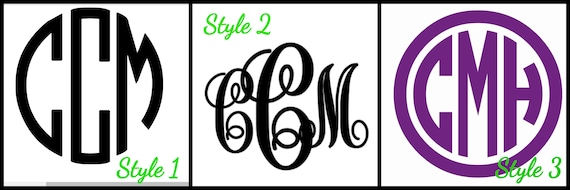 Monogram Decal Sticker Initial Monogram Decal Tumbler Cup Etsy