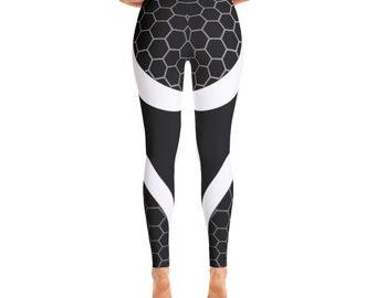 6b0663800479d Hexagon Geometric Pattern, Navy and White Women's Athletic Workout Leggings