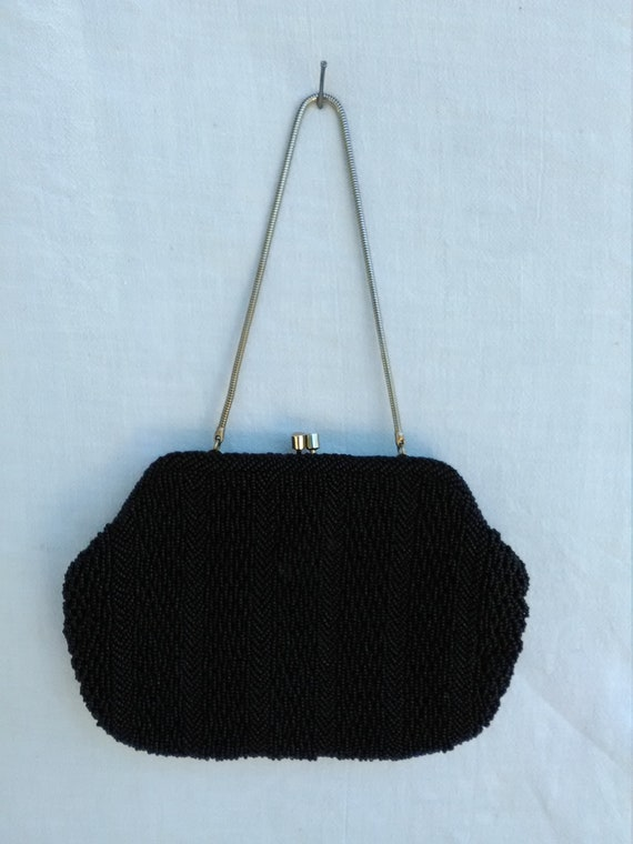 Black Beaded Bag with Snake Chain Handle
