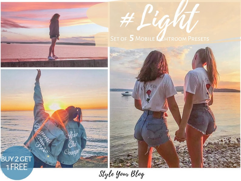 5 LIGHT Presets pack for Mobile Lightroom ir vsco photoshop filters Iphone  bright Lifestyle fashion travel family bloggers sunset outdoor