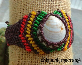 Macramè rasta bracelet with Sea Moon, bracelet, rasta macrame bracelet, boho, natural jewelry