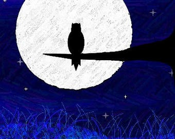 THE NIGHT-OWL; Instant Download -- Digital Art (8x11) .png