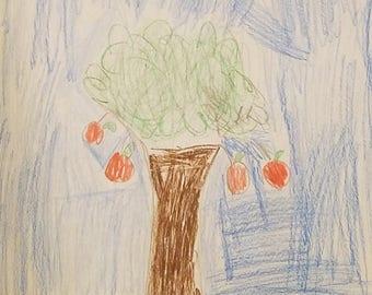 Apple Tree, Drawing, Nature, 8.5x11, Art, Colored Pencil Drawing, Tree Art, Kid Artwork