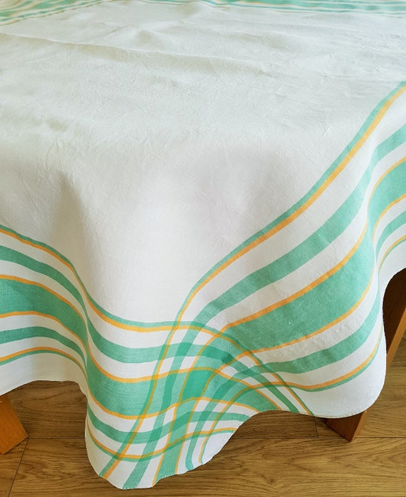 Vintage white linen tablecloth green border/Green & yellow stripes/Fine  linen picnic cloth/124cm square 49\