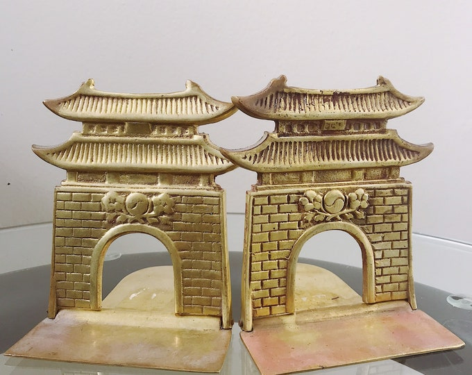 Vintage Brass Asian Pagoda Bookends