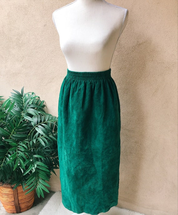 Jewel toned suede midi skirt