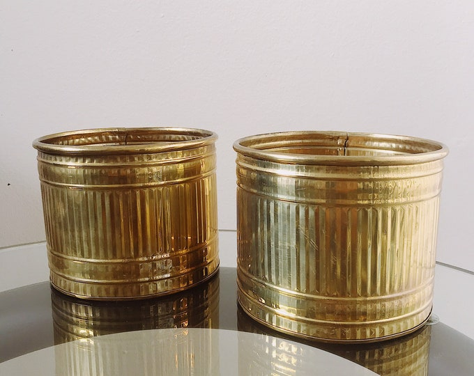 Brass Ribbed Planters