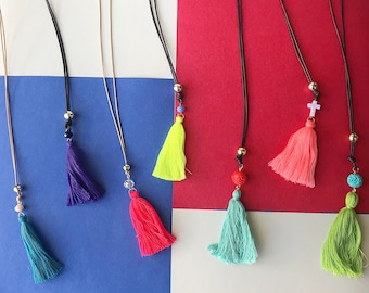 Long necklace with colorful tassels