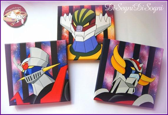 TRIS DI QUADRI dipinti a mano su tela - Mazinga, Goldrake, Jeeg Robot - 3  quadri originali dipinti ad acrilico 20 x 20 cm - 8 x 8 inches