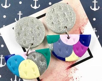 Mini Statement Dangles / MERMAID / Polymer Clay Earrings / Circle Stud / Surgical Steel / Fantasy / Wearable Art / Everyday Earrings