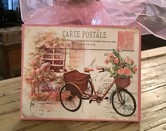8x10 Shabby Chic canvas bike print