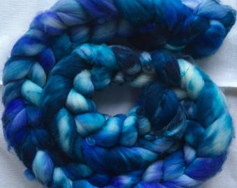 Hand dyed merino combed for spinning, felting