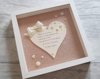 Stunning Personalised Wedding Gift Frame - Rose Gold Sparkly Background - Gift for Newly Weds