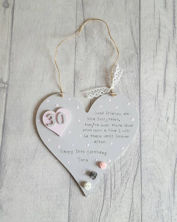 30th Birthday Personalised Gift- Hanging Heart Plaque