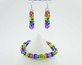 Rainbow Chainmaille Bracelet and Earrings Set 3in3