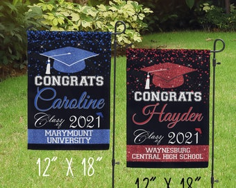 Senior 2021 Graduation Flag Garden decor School colors Spirit decor Graduation announcement yard sign All school colors Red Gray