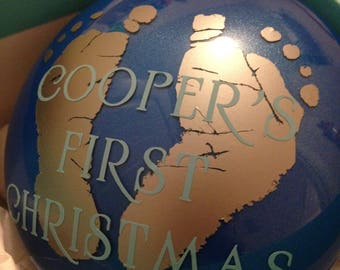 Customized Christmas Ornament Baby Infant Feet Print Babies First Christmas baby boy baby girl perfect gift first year