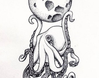 Octopus Holding up the Moon Ink Print