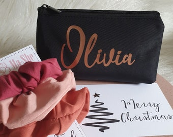 Christmas gift Personalised name makeup bag and scrunchie Gift pack for her