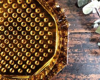 Vintage Amber Hobnail Ashtray // Hobnail Decor // Sage holder // Plant Stand ;)