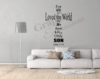 John 3:16 Cross - Decal