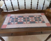 Amish Style Quilt, Quilted Patriotic Table Topper, Country Dresser Scarf
