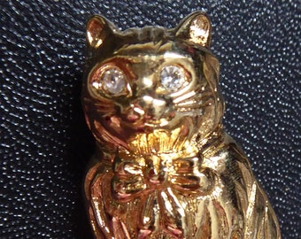 Vintage Cat Brooch Cat Pin Signed Avon Gold Tone Rhinestone Eyes