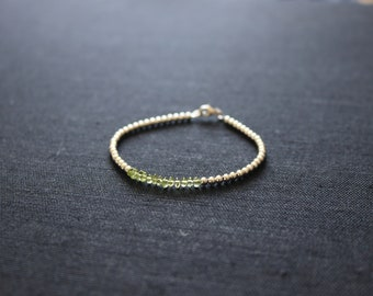 Sterling silver and peridot crystal bracelet